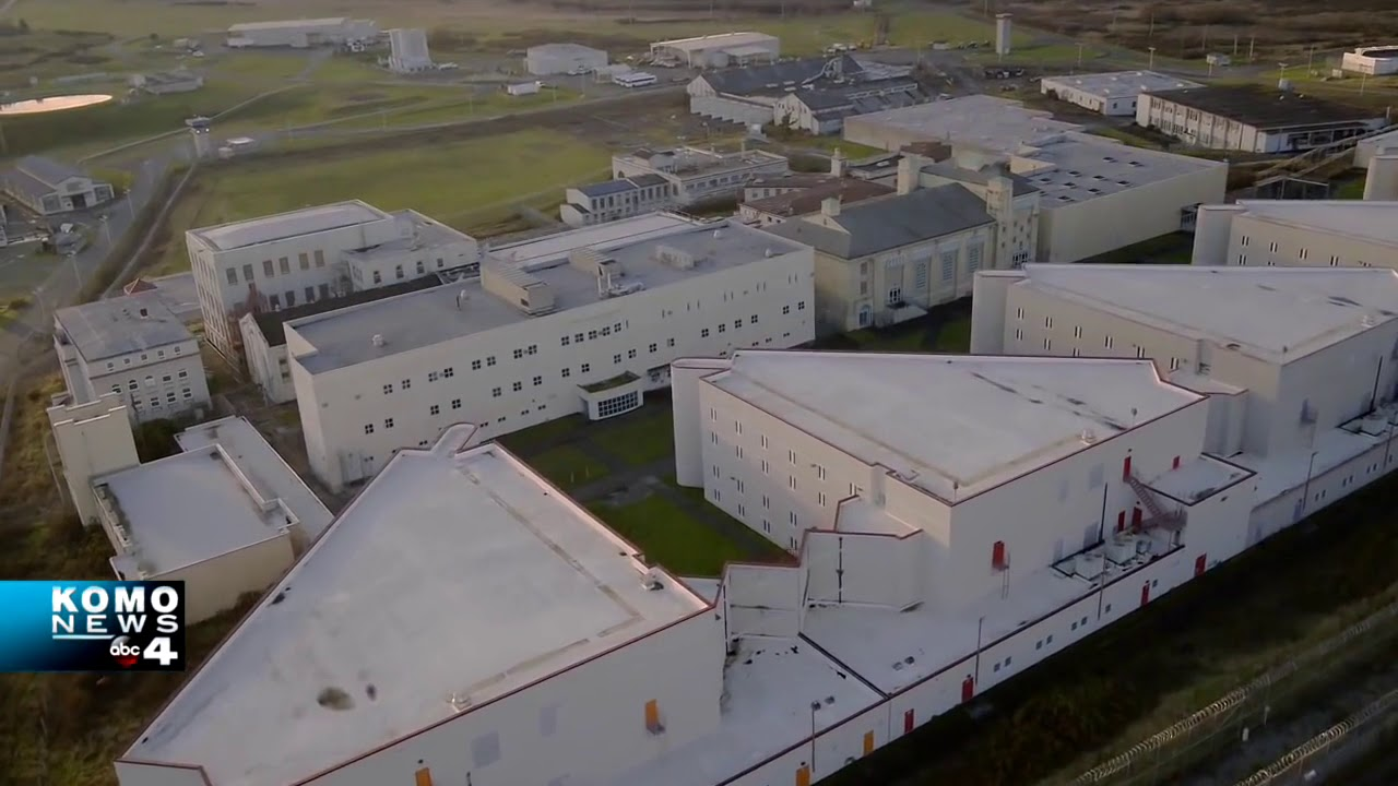 Aerial photo of a prison on McNeil Island.