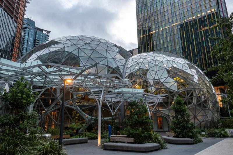Photo of the Amazon Spheres in Seattle.